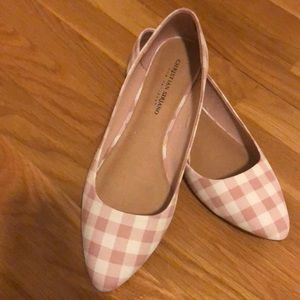 Pink and white checkered flats